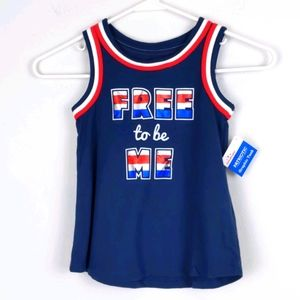 """Patriotic graphic tank top w/""""Free to be Me"""""""